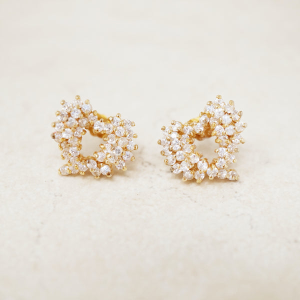Vintage Gold Vermeil Crystal Pavé Heart Stud Earrings, 1980s