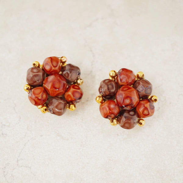 Vintage Brown Cluster Statement Earrings, 1980s