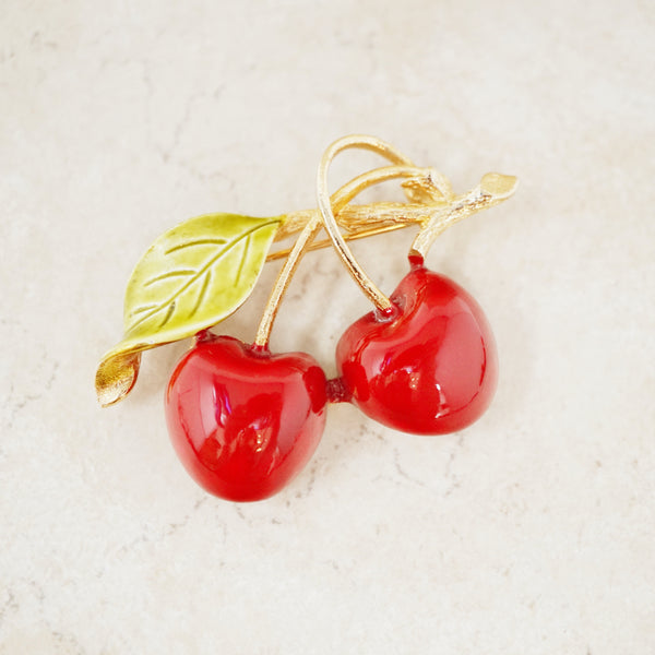Vintage Enameled Cherry Brooch, 1960s