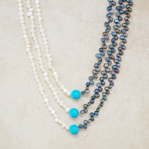 Freshwater and Tahitian Pearl Necklace with Turquoise