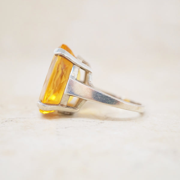 Sterling Silver Citrine Cocktail Ring