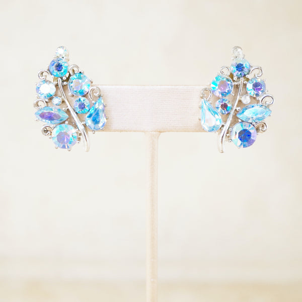Vintage Blue Aurora Borealis Crystal Leaf Earrings by Lisner, 1950s