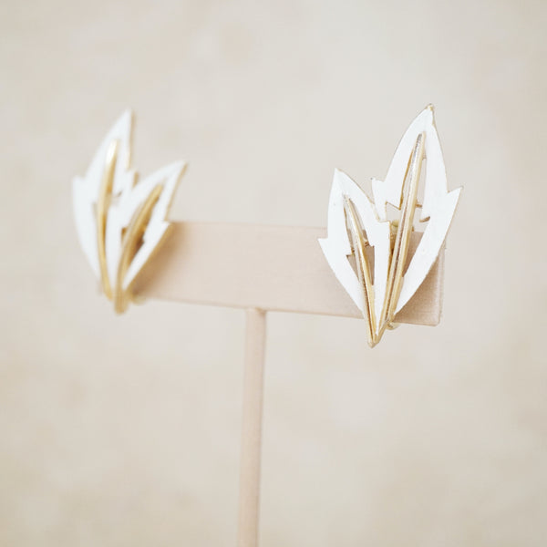 Vintage Gold & White Enamel Leaf Earrings by Crown Trifari, 1960s