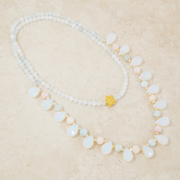 Opalite, Morganite and Aquamarine Gemstone Necklace