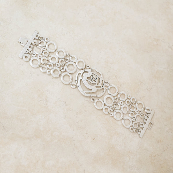 Vintage Silver Hammered Rose Statement Bracelet, 1990s