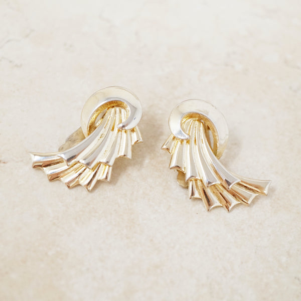 Vintage Gilded Fanned Swirl Earrings By Coro, 1940s