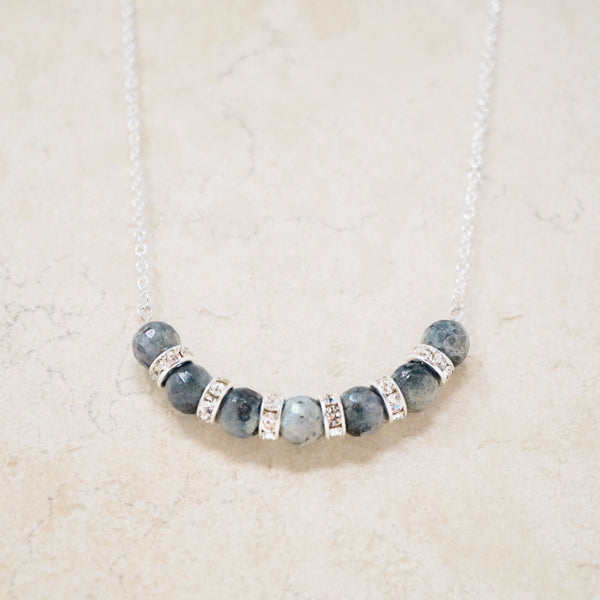 Larvikite Marble & Sterling Silver Gemstone Bar Necklace