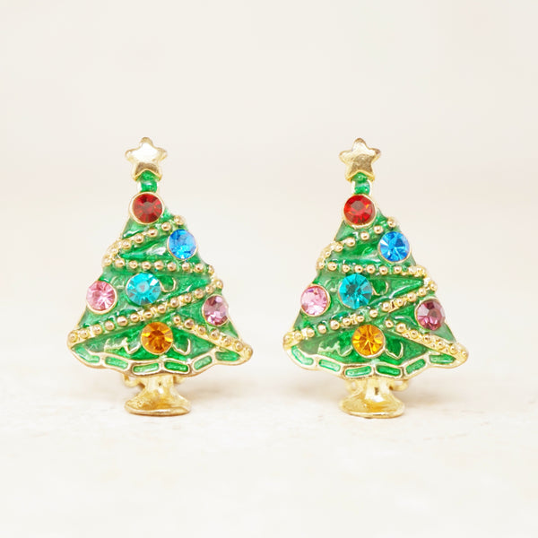 Vintage Enameled Christmas Tree Earrings, 1980s