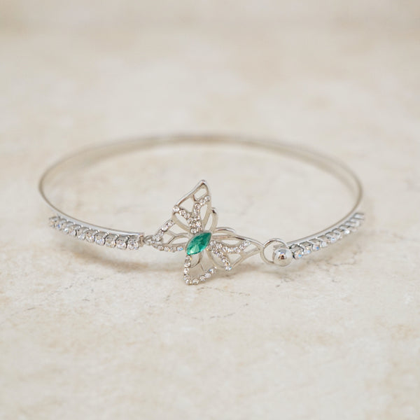 Crystal Butterfly Bangle Bracelet