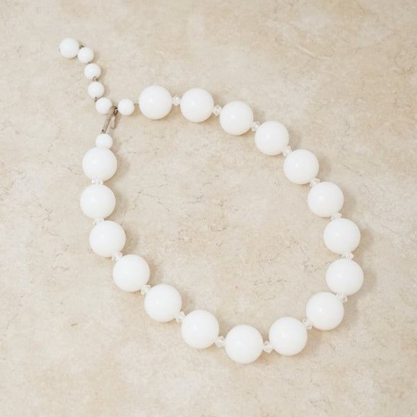 Vintage Jumbo White Bead Choker Necklace, 1960s
