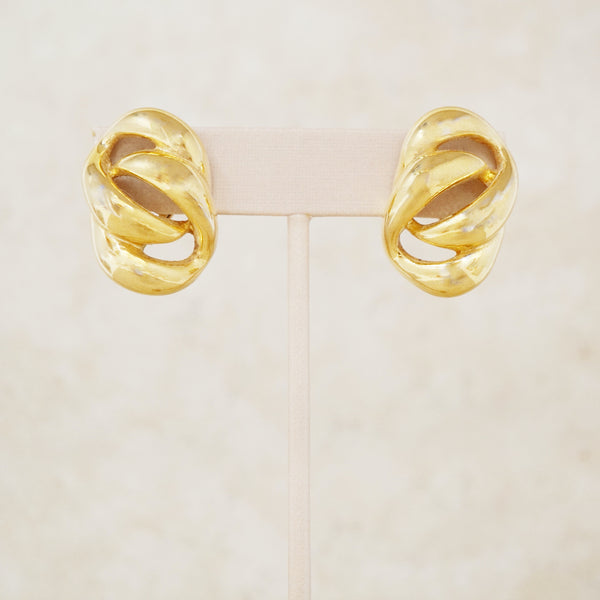 Vintage Gold Interlocking Links Earrings by Napier, 1950s