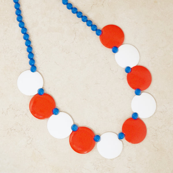 Vintage Red, White & Blue Plastic Disc Necklace, 1960s