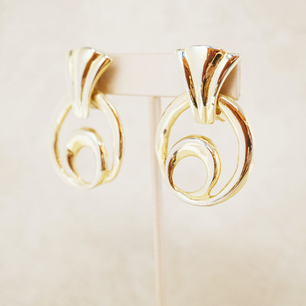 Vintage Gold Swirl Door Knocker Statement Earrings