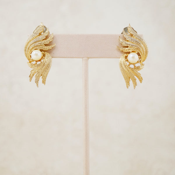 Vintage Winged Pearl Climber Earrings, 1980s