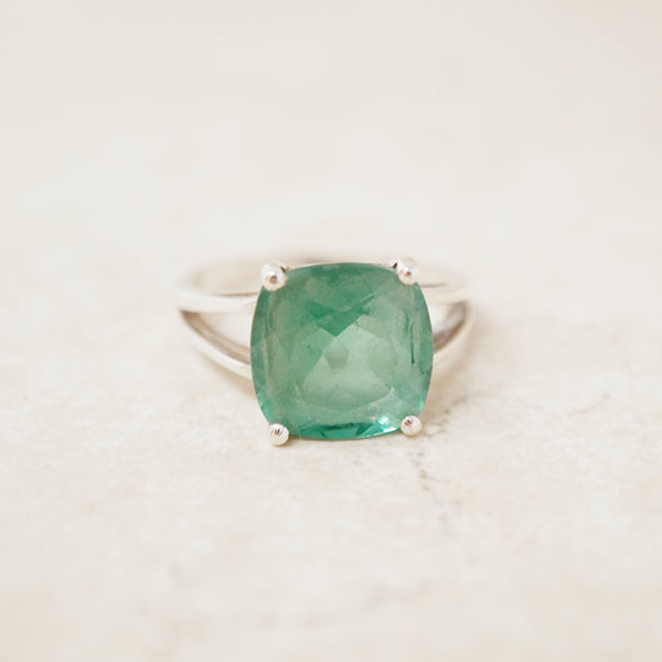 Vintage Sterling Silver Cocktail Ring with Green Crystal