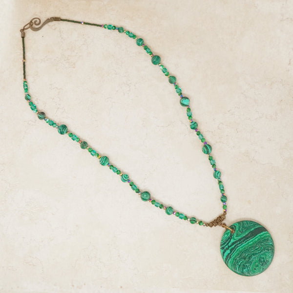 Vintage Malachite Disc Beaded Necklace, 1970s