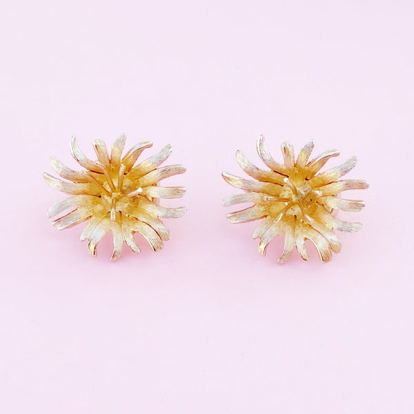 Vintage Gilded Chrysanthemum Flower Figural Earrings, 1960s