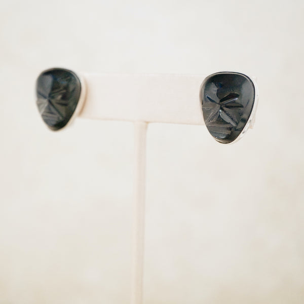 Vintage Carved Onyx Gemstone Mask & Sterling Silver Earrings, 1970s