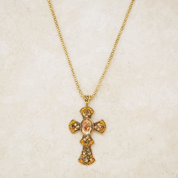 Gold Ornate Cross Necklace with Rhinestones