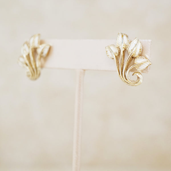 Vintage Gilded Cream Enamel Leaf Earrings by Coro, 1950s