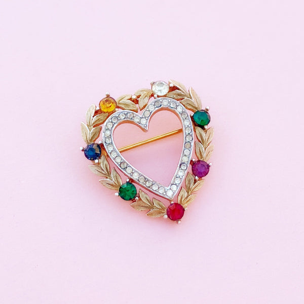 "Vintage Gilded ""DEAREST"" Heart Brooch with Simulated Gemstones by Crown Trifari, 1950s"