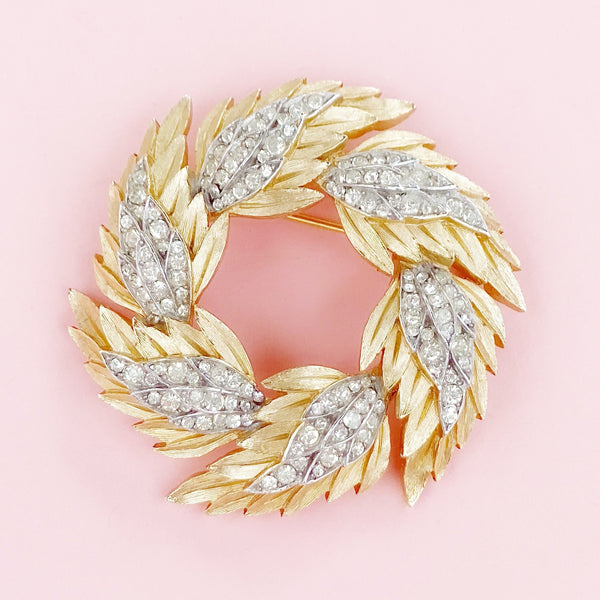 Vintage Gilded Brushed Leaf Wreath Brooch With Crystal Rhinestones By Crown Trifari, 1960s