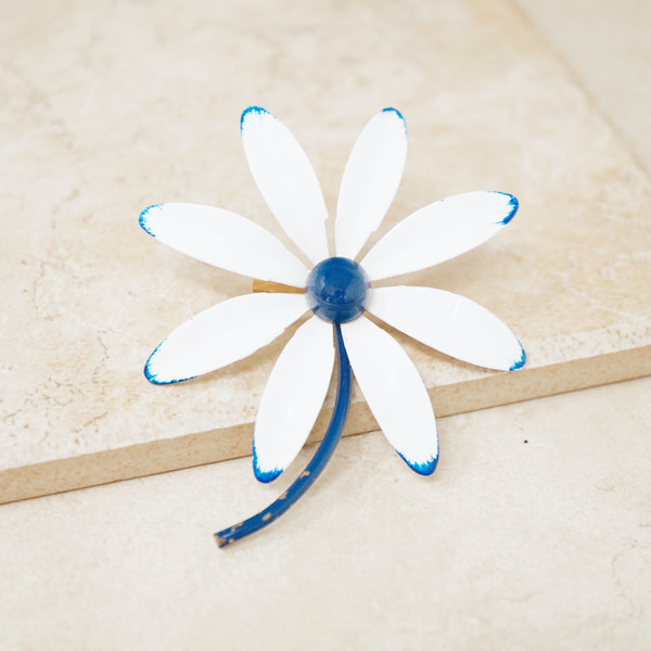 Vintage White & Blue Daisy Flower Brooch, 1960s