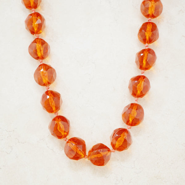 Vintage Chunky Faceted Burnt Orange Bead Necklace, 1960s