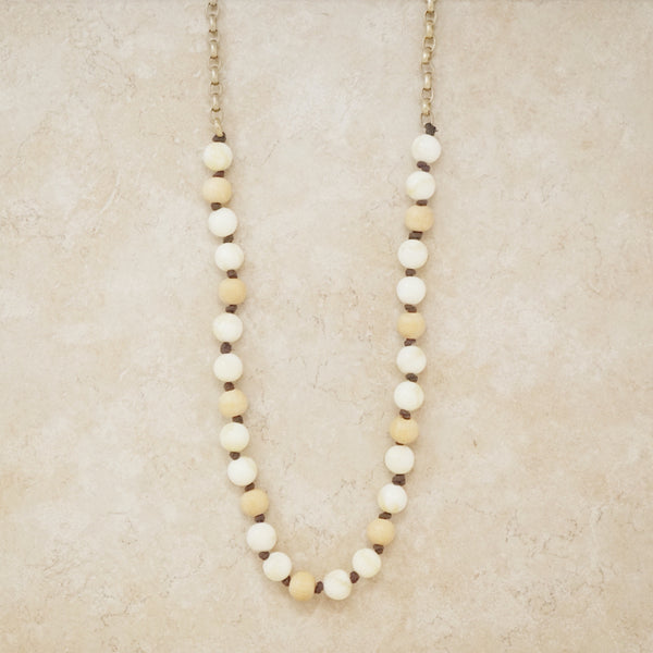 Vintage Wood Bead and Faux Ivory Necklace, 1970s