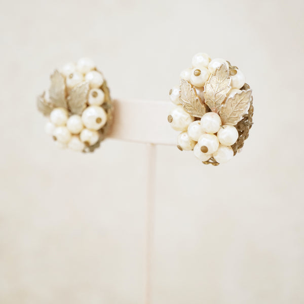Vintage Faux Pearl & Gold Leaf Cluster Earrings, 1950s