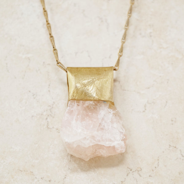 Vintage Raw Rose Quartz Gemstone Amulet Necklace, 1970s