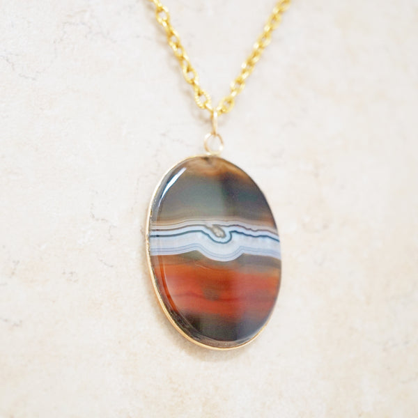 Banded Agate Slice Necklace