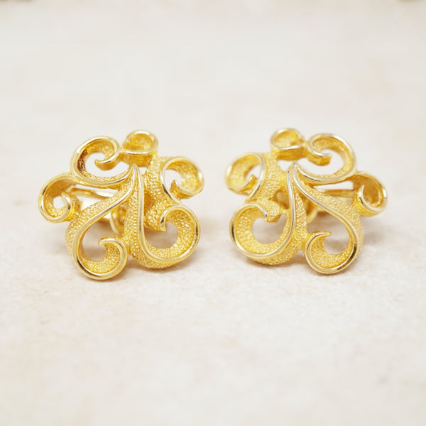 Vintage Gilt Abstract Swirl Earrings by Crown Trifari, 1960s