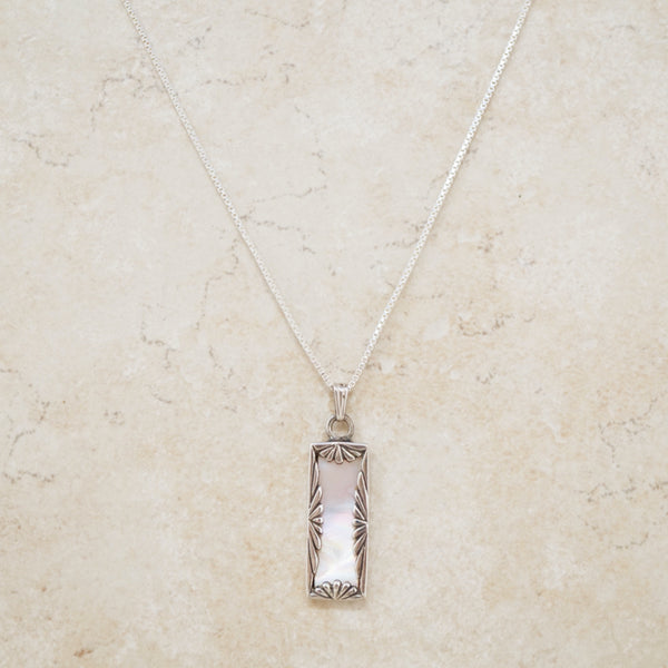 Vintage Mother of Pearl & Sterling Silver Bar Necklace