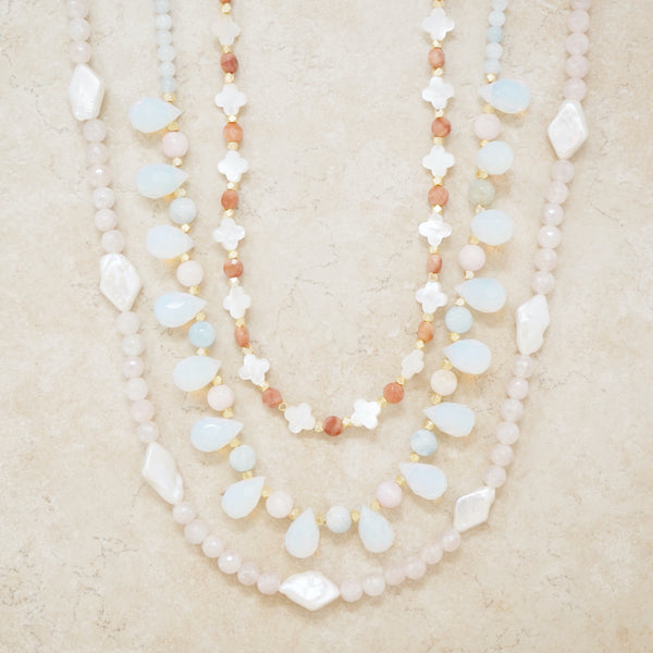 Mystic Rose Quartz and Freshwater Pearl Necklace
