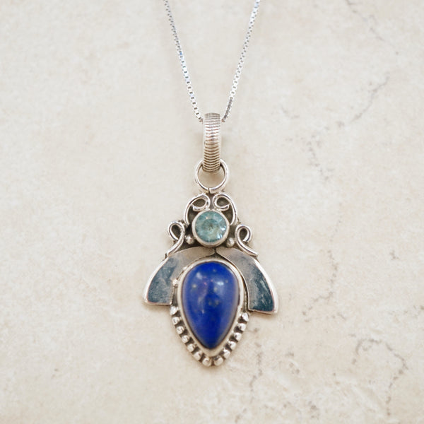 Sterling Silver & Lapis Lazuli Necklace