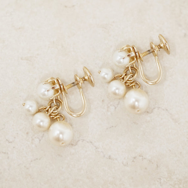 Vintage Pearl Dangle Earrings