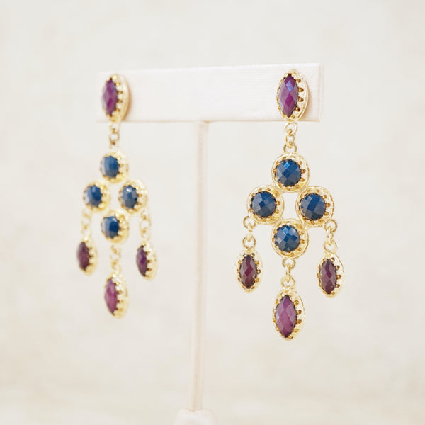 Vintage Navy Blue & Plum Faceted Cabochon Chandelier Earrings, 1980s