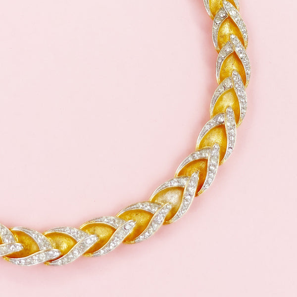 Vintage Gilt Articulated Brushed Link Choker Necklace With Crystal Rhinestones By Hattie Carnegie, 1950s