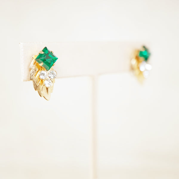 Vintage Gilded Leaf Earrings with Emerald Crystal Rhinestones, 1950s