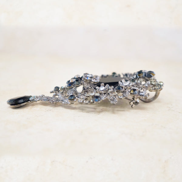 Ornate Faux Onyx Brooch