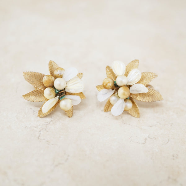 Vintage Gold Leaf Cluster Earrings by Vendome, 1950s