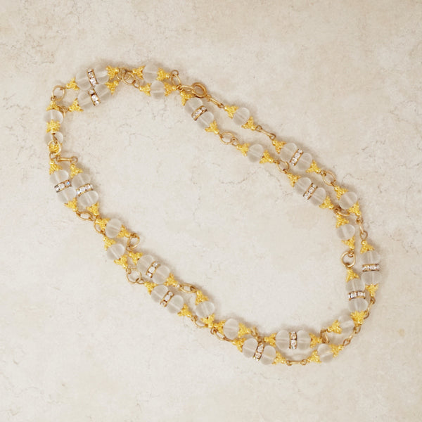 Vintage Frosted Glass Beaded Necklace with Gilded Bead Caps & Rhinestones, 1970s