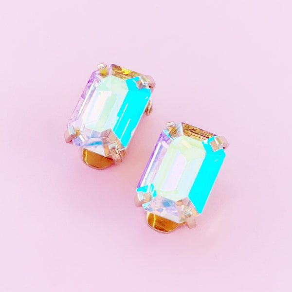 Emerald Cut Aurora Borealis Crystal Statement Earrings, 1980s