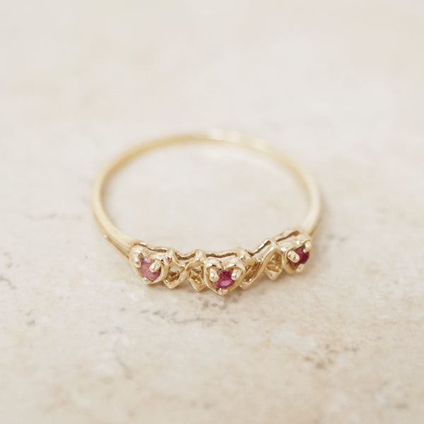 Vintage 14K Gold & Ruby Gemstone XO Ring (Size 8.75), 1980s