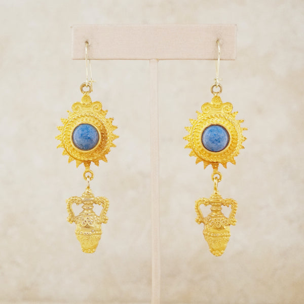 Vintage Sodalite Gemstone Drop Earrings, 1970s