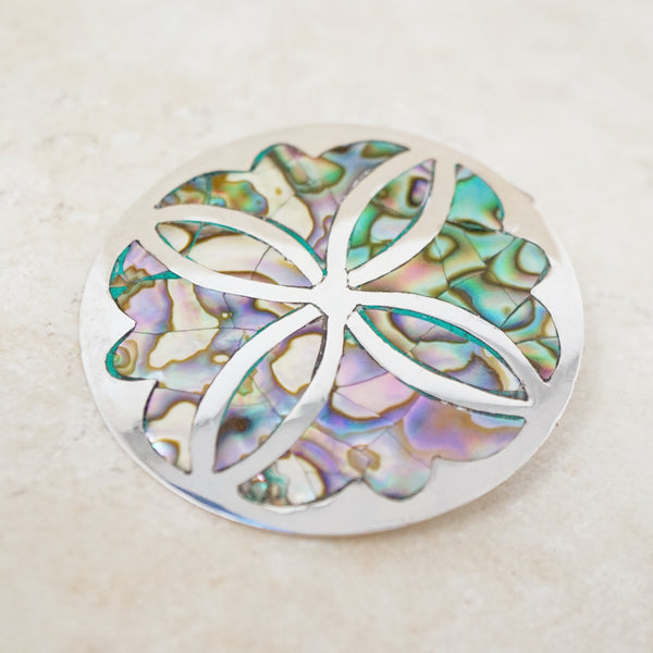 Taxco Sterling Silver and Abalone Brooch