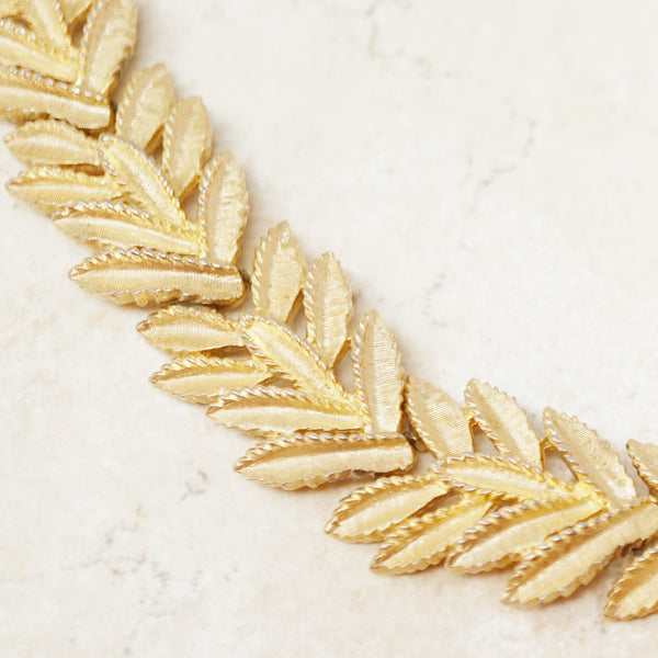 Vintage Gilded Leaves Choker Necklace by Crown Trifari, 1950s