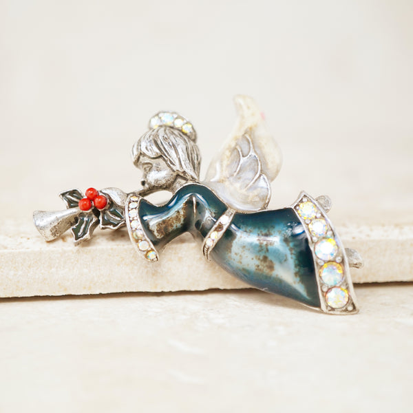 Vintage Enameled Christmas Angel Brooch, 1980s