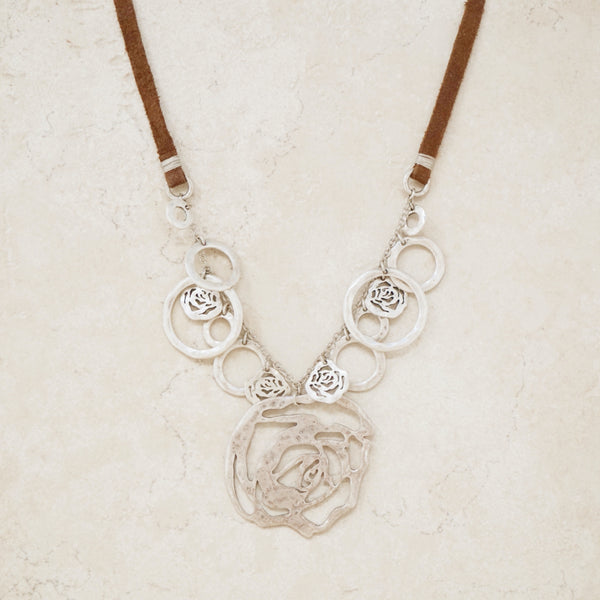 Vintage Silver Hammered Rose & Suede Necklace, 1990s